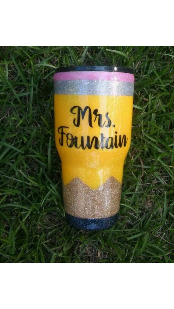 Personalized glittered pencil tumbler