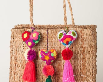 Mexican Felt Hearts / Hand Embroidered hearts with pom-poms / heart pompom tassel charm / wedding favors / babyshower