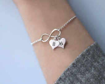 Personalized bracelet for women, Friendship Bracelet, Heart Bracelet, Bracelet with heart, Wedding gift, Bridesmaid gift, Silver bracelet.
