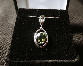 Moldavite Gemstone Solid Sterling Silver Necklace