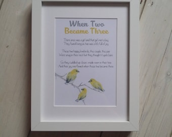 New Baby Present - When Two Became Three - new baby gift, birthday gift, christening present, personalised custom bird frame