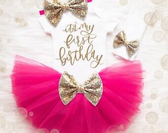 Baby Girl 1st Birthday Tutu Set   1st Birthday Girl Outfit   Cake Smash Outfit   Gold Birthday Shirt Baby Girl Birthday Shirt   Pink Gold