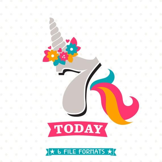 7th Birthday SVG Unicorn Birthday SVG Girls Birthday svg (570 x 570 Pixel)