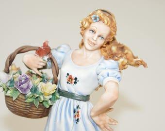 Vintage Capodimonte Flower Girl   Italian Porcelain Rose Girl   Vintage Italian Pottery Figurine