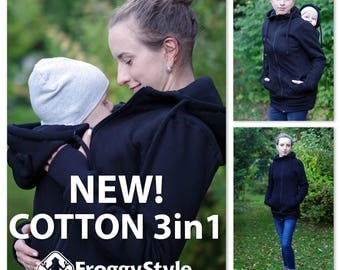 Best 3in1 Babywearing coat, baby wearing jacket, baby carrier cover, cotton, Front/Back kangaroo hoodie, S-2XL, black, plus size, maternity