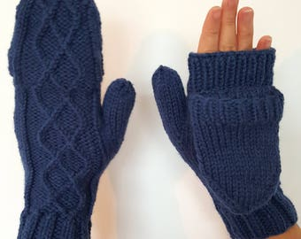 Hybrid mittens in royal blue (size S/M)
