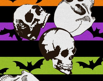 Halloween Cotton Fabric 44''-Skulls, Stripes & Bats Goth Punk Rockabilly Psychobilly 2 Yards Skeletons