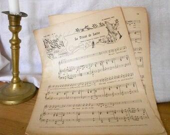 Music Sheets, Wabi Sabi Paper, Paris Wall Art, 1800s, Partitions, Antique Music Sheets, French Partitions, Large Sheet Music