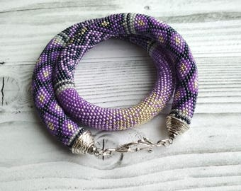 Purple bead crochet rope necklace for womens, Beaded rope necklace, Patchwork necklace, Seed bead necklace statement boho necklace beadwork