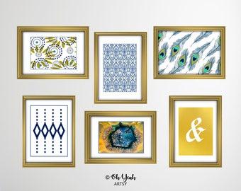 Blue Theme Gallery Wall Art Print Set WEEKEND MARKDOWN SALE!