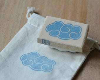 Cloud, hand carved stamp