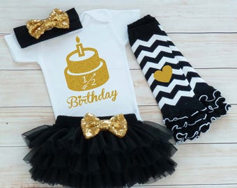 Six Month Birthday Shirt, 1/2 Birthday Girl Outfit, Cake Smash Outfit, Half Birthday Girl, Half Birthday Girl Bodysuit, Girl Half Birthday