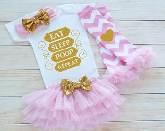 Baby Take Home Outfit Girl, Coming Home Baby Girl Outfit, Baby Girl Coming Home Shirt, Eat Sleep Poop Repeat Shirt, Baby Shower Gift, Infant