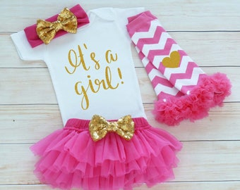 Baby Girl Coming Home Outfit, Coming Home Baby Girl, It's A Girl Take Home Shirt, Baby Girl Coming Home Outfit, Baby Shower Girl Bodysuit,