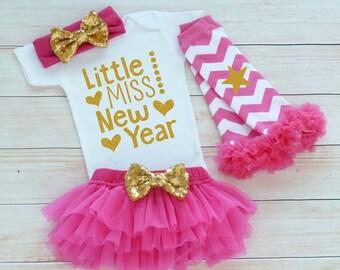 My First New Years, Girls 1st New Year Shirt, Little Miss New Year, Happy New Year Shirt, Baby Girl New Years, Baby Girl New Year Bodysuit