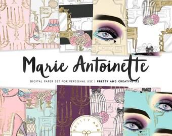 Marie Antoinette Digital Paper, Marie Antoinette Victorian Lady, Dessert, French, France Queen, Dessert Cake, European Royalty, Fashion
