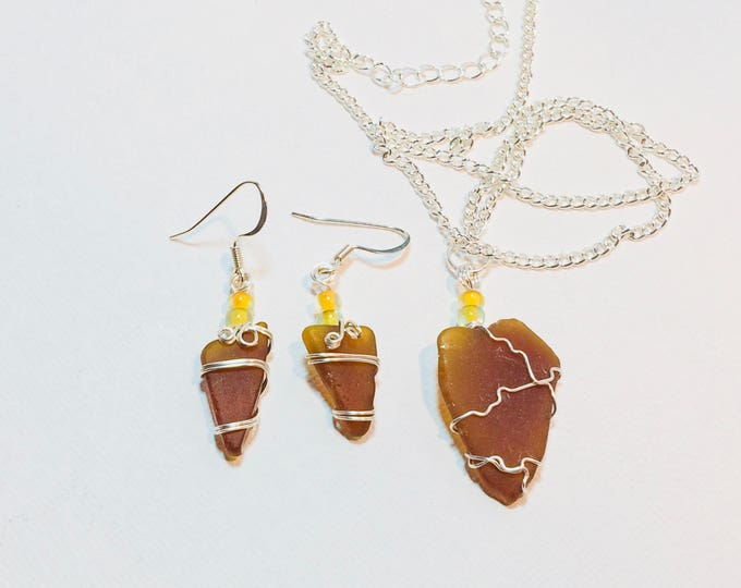 wire wrap - Brown Amber - Beach Glass - Necklace & Earrings - Gift for Her - Beach Glass Jewelry