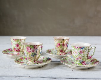 Set of 4 Vintage Espresso Cups with Saucers-Food Photography Prop