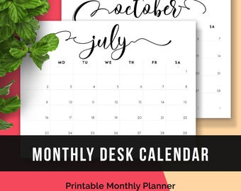 2017 Printable Monthly Planner Letter • 2017 Printable Calendar Monthly Agenda Letter Size PDF Planner Calendar Printable Monthly Organizer