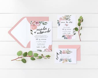 Floral Wedding Invitation Suite, the Rosalie Suite, Flower Wedding Invitations, Rustic Invite, Printable Invite, Save the Date + RSVP