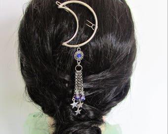 Moon and Stars Hair Clip, Boho Hair Accessory, Trendy hair accessory, Moon Hair Accessory, Moon Barrette, Moon Stars Hairclip, Trendy Hair