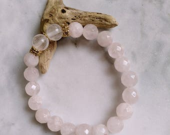 Stretch Bracelet made of rose quartz and cherry quartz beads