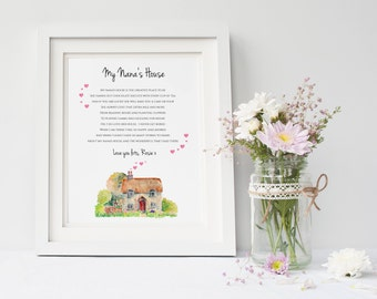 Nana Print - Nan Print - Granny Print - Grandmother Print - Grandparent Print - Nanny Print - Nana Gift  - Granny Poem (UNFRAMED)