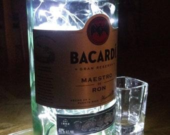 Bacardi Gran Reserva Bottle Light. Upcycled Bottle Lamp. Perfect Mood Lighting Gift For Women & Boyfriend Gift For Men. Upcycled Lighting