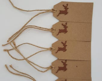 Christmas Tags, Reindeer Tags, Deer tags, Christmas gift tags, labels, hang tags, Holiday tag, Christmas, Brown Tags
