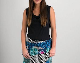 Reversible Cotton Skirt Blue Patch Black White Print Blue Print Detachable Pocket Medium Length