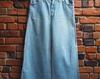 70s Wrangler Light Blue Denim Bell Bottoms Flares Jeans Size W34