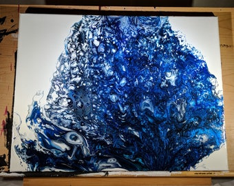 "18"" x 24"" Fluid Acrylic Original Abstract Painting - Metallic Blue, Black, White"