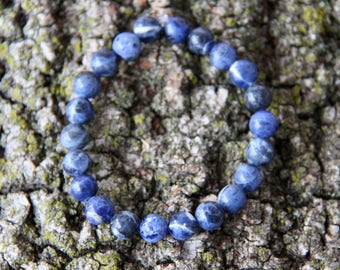 Blue Sodalite Crystal Mala Bead Bracelet Blue MalaBead Bracelet Blue Crystal Bracelet Blue Crystal Healing Bracelet Blue Bead Bracelet Mala