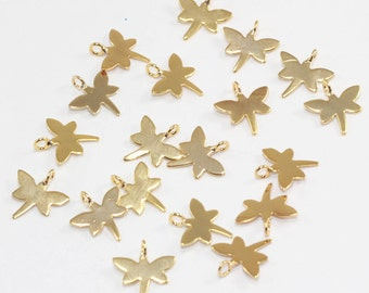 5 Pcs 24k Gold Plated dragonfly  Charms, 11x11mm, Jewelry Charm Supplies, Gold Plated Brass Pendant Charm,Tinny Dragonfly Charms, KBR28