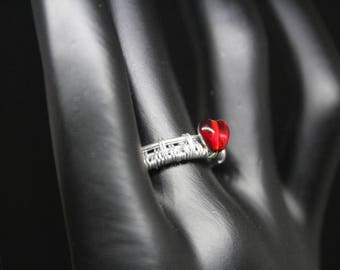 Wire Wrapped Sterling Silver adjustable Ring with Red Marea Heart