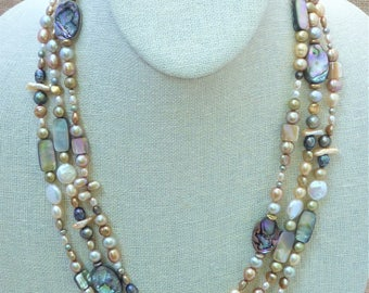 Laminated Abalone Ovals, Rectangles and Squares with Coin Pearls, Biwa Pearls and Faceted Pearls Triple Wrap Long Rope Necklace