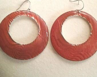 Vintage Orange Earrings for Pierced Ears, Vintage Earrings for Women, Vintage Orange Circle Earrings, Vintage Earrings, Orange Earrings