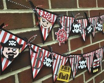 Pirate Birthday Banner, Pirate Banner, Boy Birthday, Pirate Party, Personalized Banner, Pirate Pennant, Pirate Decorations, Pirate Birthday