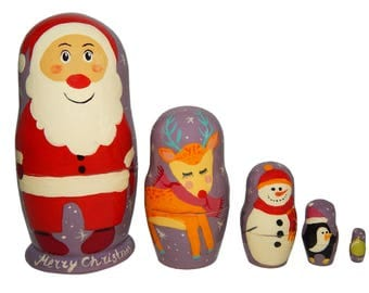 Wooden nesting dolls for Christmas and New Years, Gift for him, her, women, men, kids, children | Set on 5 pieces