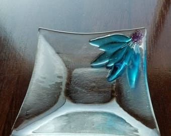 Clear Flower Fused Glass Dish - Blue
