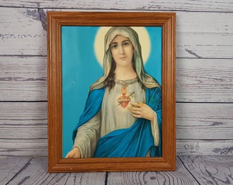 Vintage Virgin Mary Mother  Gold Colored Cardboard Standing Frame Wall Art Hanging Religious Gift Catholic Christian Baptism