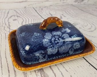 Vintage Rectangular Butter Dish Ceramic Floral Hand Painted Elica Home Trends Print Cover Retro Breakfast Table Decor Farmhouse Cottage