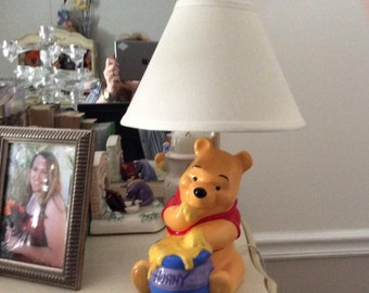 Winnie The Pooh Hunny Pot Table Lamp Base AND Shade. Nursery Baby Child's Room WORKS GREAT