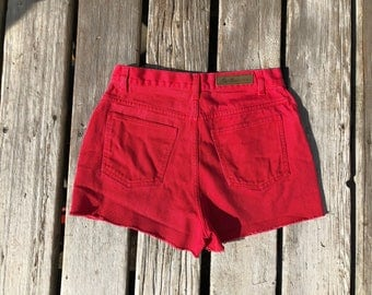 "Bill Blass Sz 29"" High Waisted Vintage Red Cutoffs"