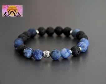Sodalite Lava Essential Oil Diffuser Bracelet-Silver-Wrist Mala-Gemstone Bracelet-Beaded Bracelet-Yoga Jewelry-Boho Chic-Intention Bracelet