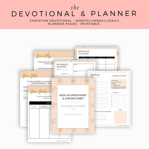 Christian Printable 2018 Devotional & Planner Daily Weekly