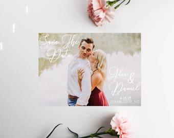 PRINTED Custom Photo Save the Date Invitation, Calligraphy Save The date, Save Our Date, Printable or Printed, Custom Invitation