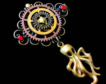 Steampunk Octopus Octopus and COG clip hair bow tie clip
