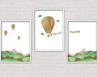 Hot Air Balloon Watercolor Print Set of 3 Wall Decor Wall Art Home Decor Landscape Vintage Freedom Wanderlust Explorer Fly Instant Download