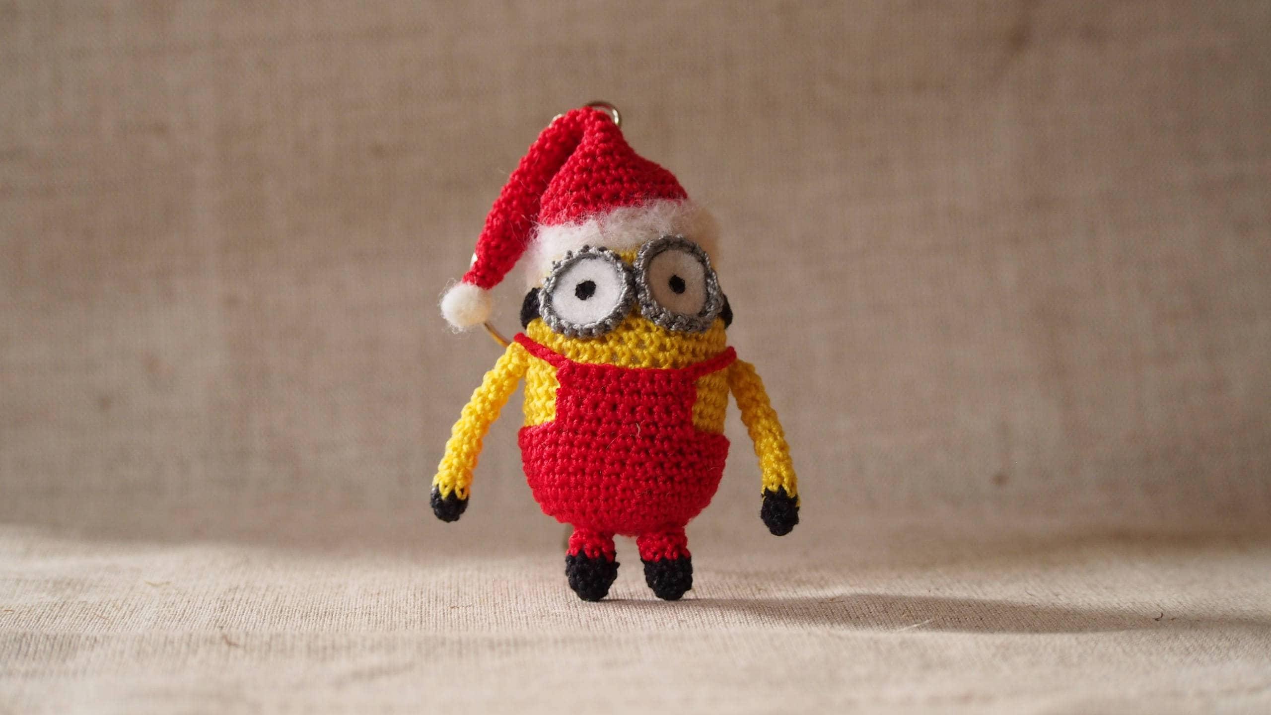 Minion Keychain Santa Minion Christmas Minion Crochet Minion Santa
